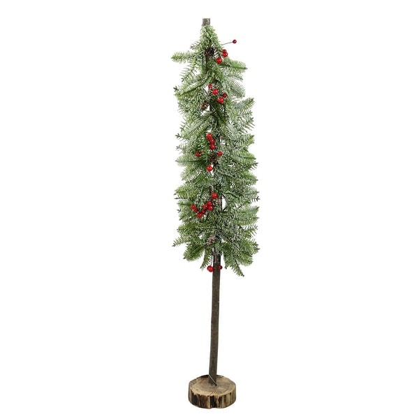 """34"""" Glittered Country Rustic Artificial Alpine Christmas Tree with Holly Berries Table Top Decoration"""