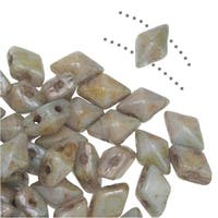 Czech Glass DiamonDuo Mini, 2-Hole Diamond Shaped Beads 4x6mm, 8 Grams, Chalk Lumi Green
