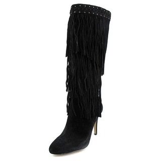 INC International Concepts Tomi Women Round Toe Suede Black Knee High Boot