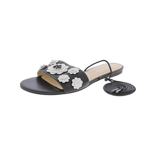 Ivanka Trump Womens Catera Flat Sandals Floral Embellished - 8.5 medium (b,m)