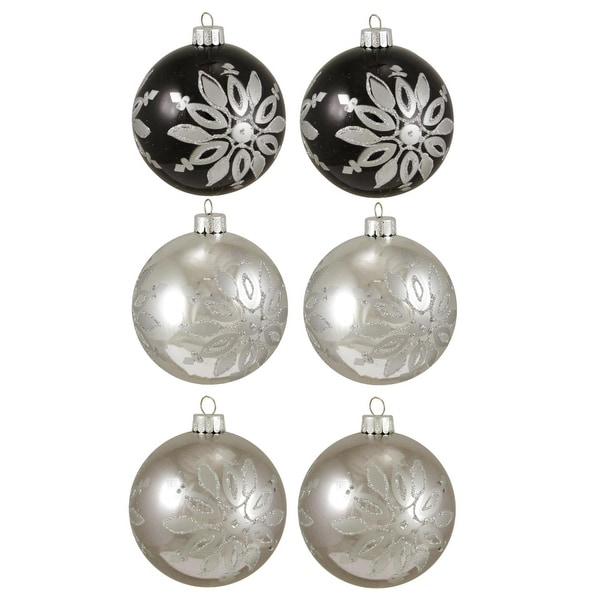 """6ct Black and Silver Snowflake Shatterproof Christmas Ball Ornaments 3.25"""" 80mm"""