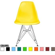 2xhome Yellow - Eames Style Molded Bedroom & Dining Room Side Ray Chair with Eiffel Metal Leg Base