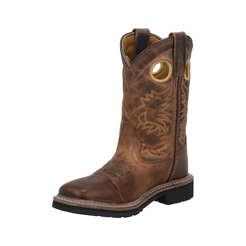 """Dan Post Western Boots Boys 8"""" Amarillo Leather Brown"""