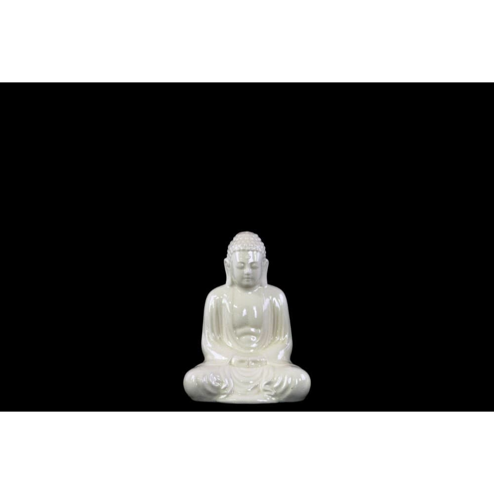 Ceramic Meditating Buddha Figurine, White