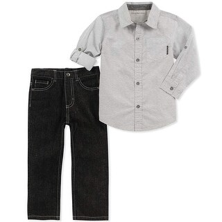 Calvin Klein Kids Boys 4-7 Woven Jean Set - grey