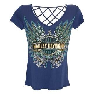 Harley-Davidson Women's Tee, Rhinestone Live To Ride Free B&S, Blue HD215-007BLU (2 options available)