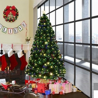Costway 5' Pre-Lit Fiber Optic Artificial Christmas Tree w/ 180 LED