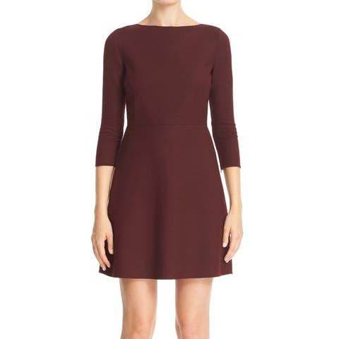 Theory Burgundy Red Womens Dress Size 10 A-Line Stretch Sheath Wool