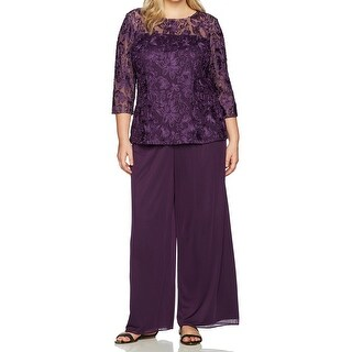 Alex Evenings Purple Womens Size 14W Plus Embroidered Top Pant Set