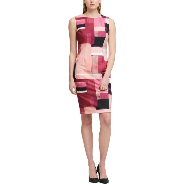DKNY Womens Scuba Dress Colorblock Sleeveless