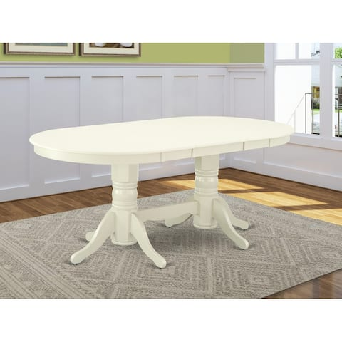 "VAT-LWH-TP Vancouver Double Pedestal Dining Table with 17"" Butterfly Leaf in Linen White Finish - Off White"