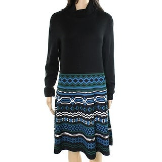 Eliza J NEW Black Womens Size XL Turtleneck Printed Sweater Dress