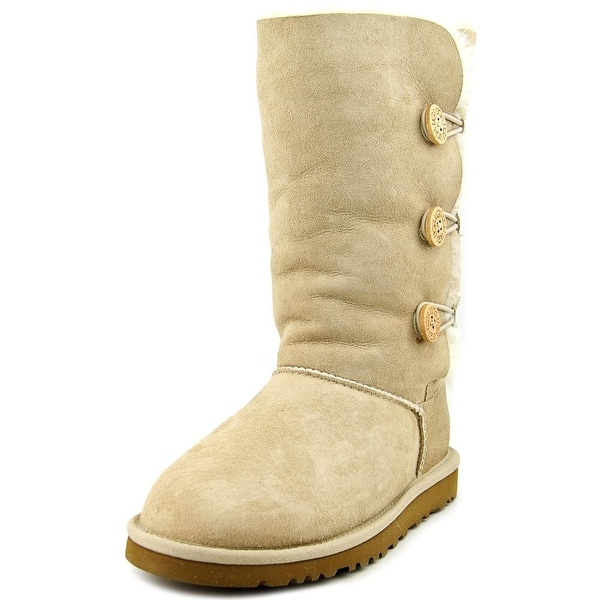 Ugg Australia Bailey Button Triplet Youth Round Toe Suede Nude Winter Boot