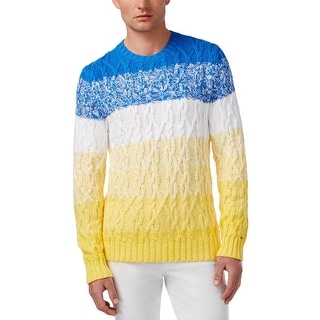 Tommy Hilfiger Mens Aaron Pullover Sweater Cable Knit Ombre Stripe - XL
