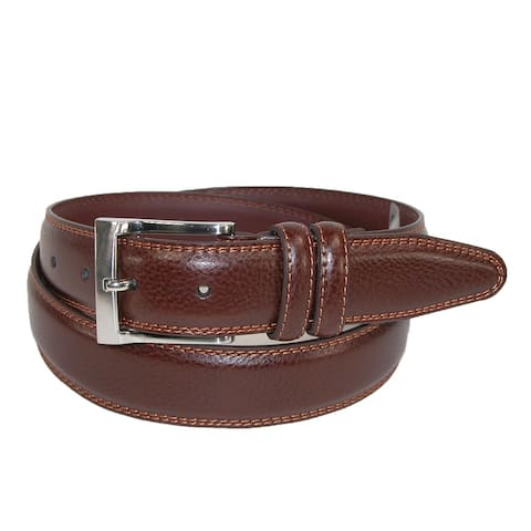 Aquarius Men's Big & Tall Pebble Grain with Feather Edge Dress Belt