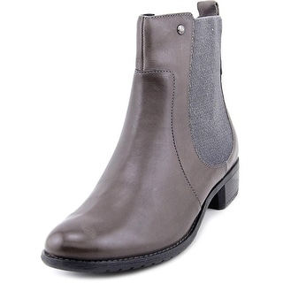 Hush Puppies Lana Chamber Women W Round Toe Leather Gray Ankle Boot