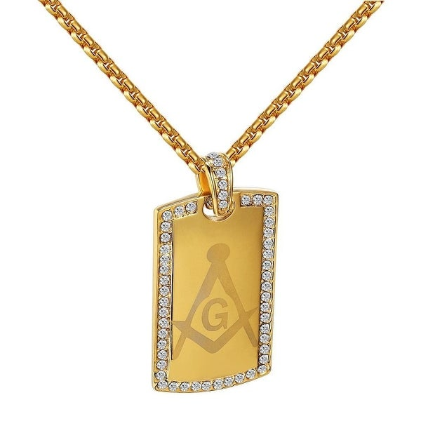 Masonic G Pendant Gold Tone Stainless Steel Simulated Diamonds Necklace Charm