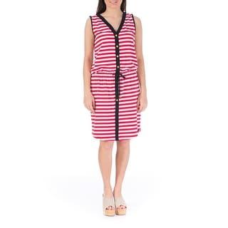 Jones New York Womens Casual Dress Striped Sleeveless - l