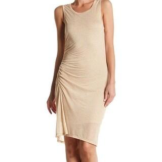 H by Bordeaux NEW Beige Womens Size Medium M Shirred Knit Sheath Dress