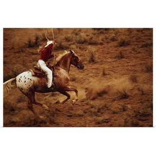 """""""Cowgirl on horseback with lasso"""" Poster Print"""
