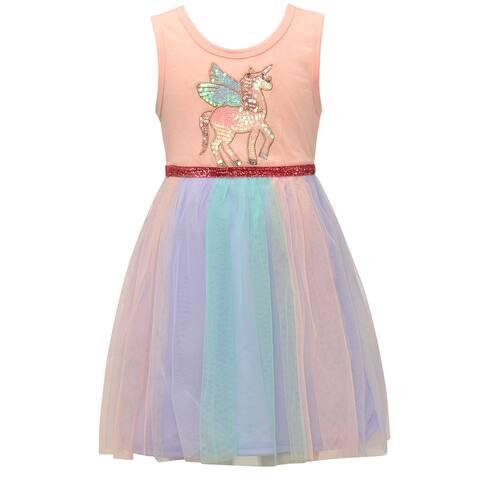 Little Girls Pink Pastel Stripe Sequin Unicorn Sleeveless Easter Dress