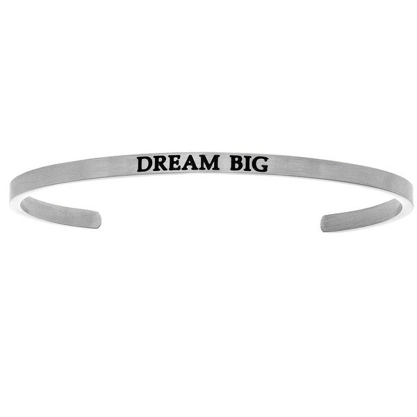 "Intuitions ""Dream Big"" Stainless Steel Cuff Bangle Bracelet"