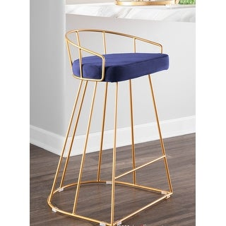 Link to Canary Contemporary Counter Stool in Gold and Velvet (Set of 2) Similar Items in Dining Room & Bar Furniture