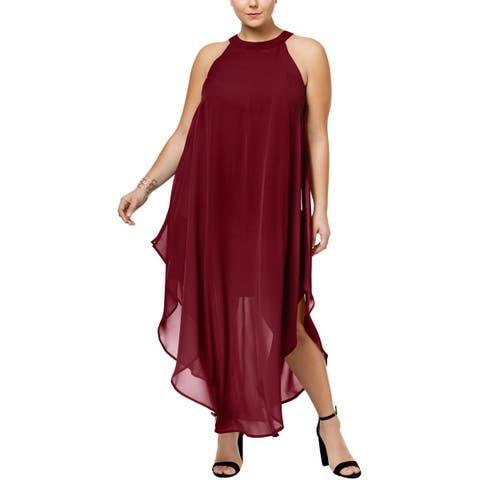 Love Squared Womens Plus Cocktail Dress Asymmetrical Chiffon Overlay