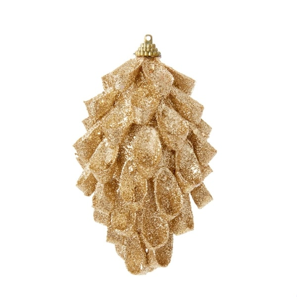 "5.75"" Rich Elegance Gold Glittered Looped Pine Cone Style Christmas Ornament"