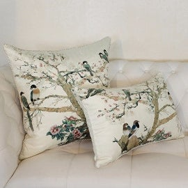 "Luxury White Bird Printing Pillow 20""X20"""
