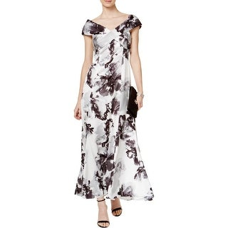 Tahari ASL Womens Formal Dress Satin Floral Print