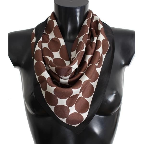 Dolce & Gabbana White Brown Polka Dot Print Silk Scarf - One size