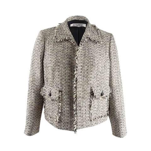 Kasper Women's Tweed Open-Front Jacket (18, Toffee Multi) - Toffee Multi - 18