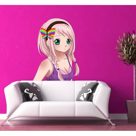 Cute Anime Wall Art, Anime girl Sticker, Anime Girl Decal