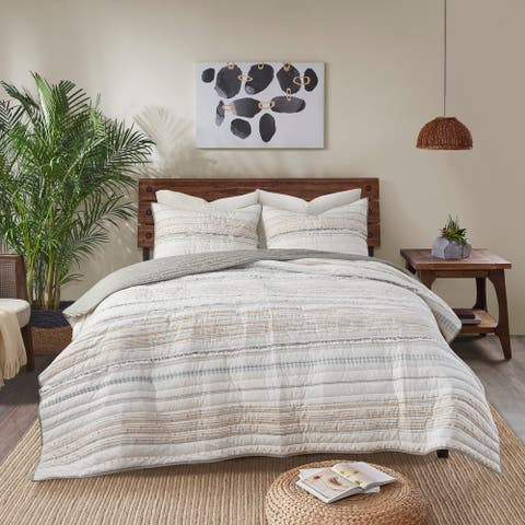 Nea Cotton Printed Coverlet Set with Trims by INK+IVY