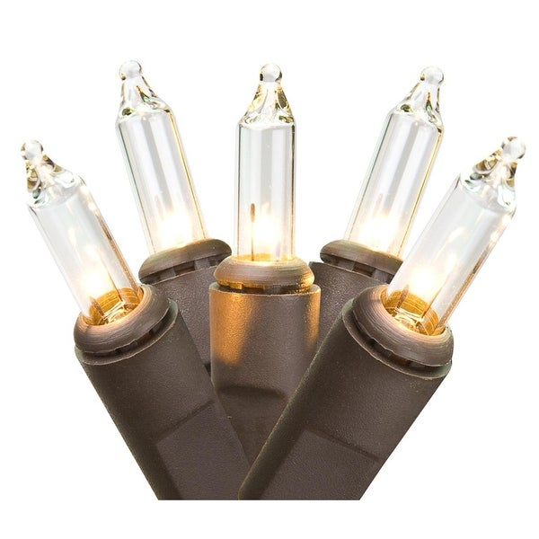 Set of 300 Clear Mini Christmas Lights - Brown Wire