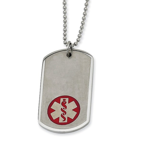 Chisel Stainless Steel Red Enamel Large Dogtag Medical Pendant 22 Inch Necklace (1 mm) - 22 in