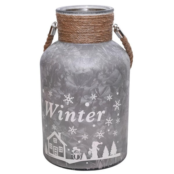 "12"" Silver White Iced Winter Scene Decorative Christmas Pillar Candle Holder Lantern with Handle"