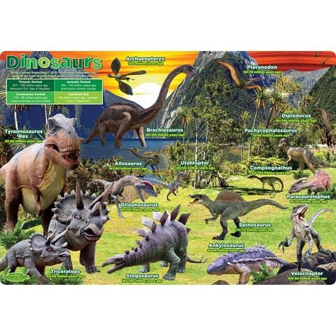 "Smart Poly® Single Sided PosterMat Pals®, Dinosaurs, 12"" x 17.25"""