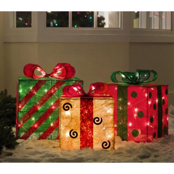 Shop Set of 3 Gold, Green and Red Sisal Gift Boxes Lighted Christmas Yard Art - Free Shipping Today - Overstock - 25739456