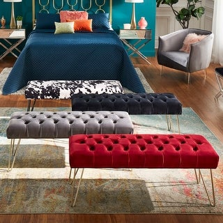 Link to Klaus Velvet Tufted Bench by iNSPIRE Q Bold Similar Items in Living Room Furniture