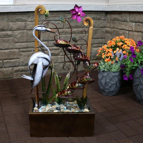 """Metal Crane Tiered Waterfall Outdoor Water Fountain 33"""" Patio Feature"""