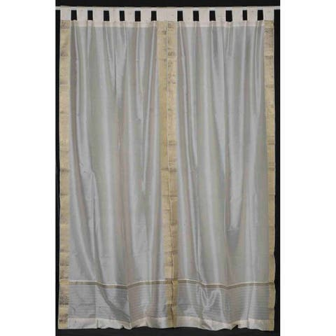 Cream Tab Top Sheer Sari Curtain / Drape / Panel - Piece