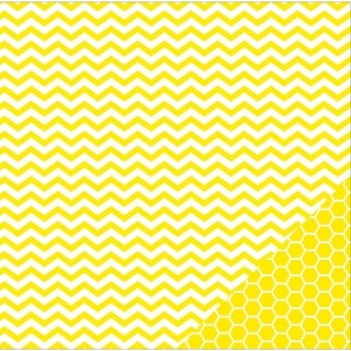 "American Crafts Basics Double-Sided Cardstock 12""X12""-Lemon Chevron"
