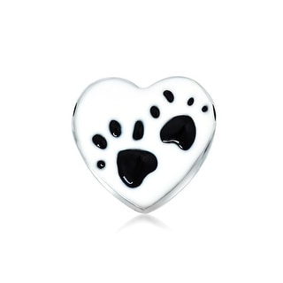 Bling Jewelry 925 Silver Enamel Heart Paw Print Charm Animal Bead