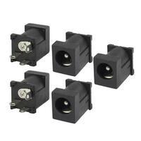 Unique Bargains 5 Pcs 3 Pins 2.1x5.5mm Stereo Jack Socket PCB Panel Mount for Earphones