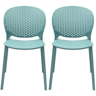 2xhome - Set of 2 Modern Plastic Armless Stackable Stacking Dining Side Chairs Matte Indoor Outdoor Restaurant Home (Option: aqua)