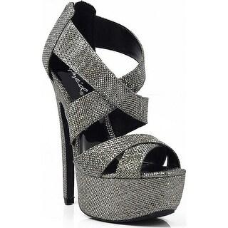Women's Qupid Glitter Strappy Platform High Heels Sandal Pump - Silver Glitter