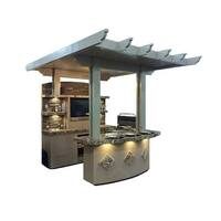 "St. Croix 3 Piece 4' Island With 7'6"" Media Wall & 7'6"" Bar Outdoor BBQ Kitchen"