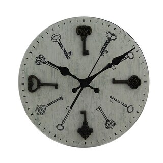 Distressed White Round Antique Keys Wood Wall Clock